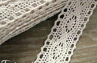 Galantéria - Čipka zo 100% bavlny, 3cm x 18,3 m- béžová - 12283138_