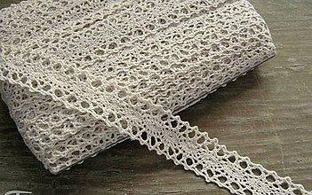 Galantéria - Čipka zo 100% bavlny, 2,3cm x 18,3 m-béžová - 12283139_