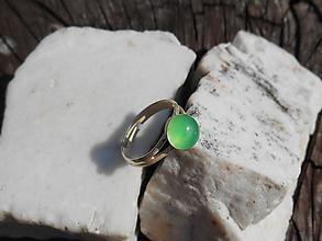 Prstene - green stone-ring-chalcedón - 12284722_