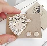 Keramický set brošňa a náušnice (ovečka)