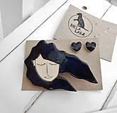 Sady šperkov - Keramický set brošňa a náušnice (vietor vo vlasoch) - 12285116_