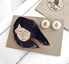 Sady šperkov - keramický set brošňa a náušnice (vietor vo vlasoch) - 12285096_