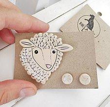 Sady šperkov - keramický set brošňa a náušnice (ovečka) - 12285097_