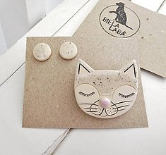 Sady šperkov - keramický set brošňa a náušnice (mačka) - 12285108_