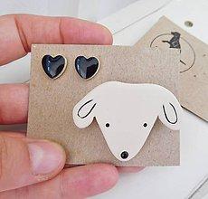 Sady šperkov - keramický set brošňa a náušnice (psík) - 12285111_