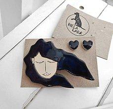 Sady šperkov - keramický set brošňa a náušnice (vietor vo vlasoch 2) - 12285116_