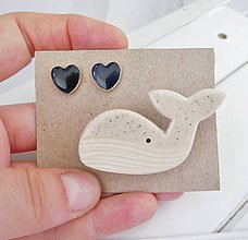 Sady šperkov - keramický set brošňa a náušnice (veľryba) - 12285118_