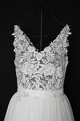 Šaty - Transparentné svadobné šaty na ramienka - 12284315_