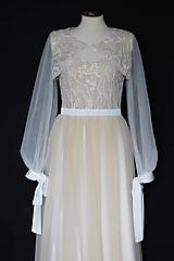 Šaty - Krémové svadobné šaty na ramienka s bolerkom - 12284363_