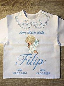 Detské oblečenie - Maľovaná košielka na krst s anjelikom- tmavovmodrá verzia - 12284236_