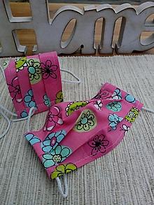Rúška - Rúško detské jednovrstvové od 14 do 17 cm (Ružové s kvietkami) - 12284041_