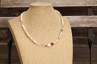 Náhrdelníky - Letný náhrdelník z minerálov howlit, krištáľ, jadeit, howlit, perly - 12283855_