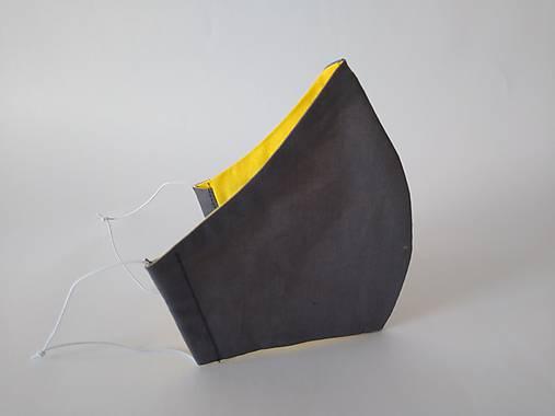 Dizajnové rúško tmavošedé/žltá tvarované dvojvrstvové