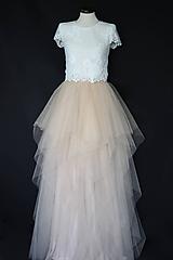 Šaty - Dvojdielne svadobné šaty top a viacvrstvová tylová sukňa - 12287127_