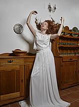 Šaty - Dvojdielne svadobné šaty top a tylová sukňa s vlečkou - 12287529_