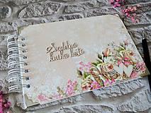 Papiernictvo - Svadobná kniha hostí Ruže - 12288226_