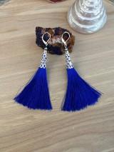 Náušnice - modré strapcové náušnice - 12286296_