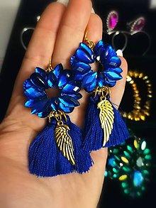 Náušnice - Modré náušnice s krídlami - 12291946_