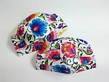 Rúška - Rúško folklórne ,farebné kvety,antibakteriálne - 12292037_