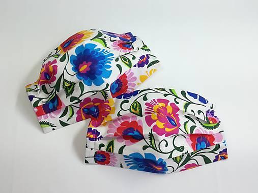 Rúško folklórne ,farebné kvety,antibakteriálne