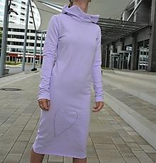 Šaty - Teplákové šaty Clara Lila s kapucňou a predĺženým rukávom - 12289573_