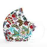 Rúška - Dizajnové ergonomické rúško - etnické kvety - 12291666_