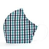 Rúška - Dizajnové ergonomické rúško - káro zeleno-modré - 12291672_