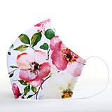 Rúška - Dizajnové ergonomické rúško - ruže - 12291691_
