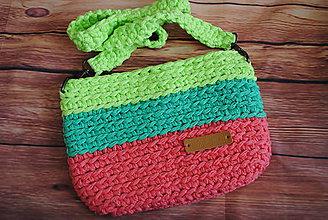 Kabelky - Háčkovaná crossbody kabelka zeleno-ružová - 12289356_