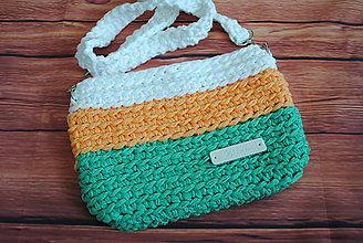 Kabelky - Háčkovaná crossbody kabelka bielo-zeleno-oranžová - 12289361_
