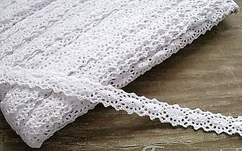 Galantéria - Čipka biele oválčeky 1,2cm x 18,3 m - 12291532_