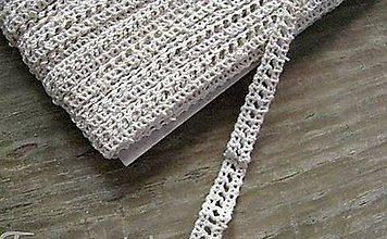 Galantéria - Čipka zo 100% bavlny, 0,9cm x 18,3 m- béžová - 12291539_