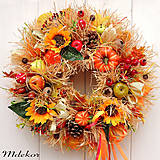 Dekorácie - Strapatý jesenný veniec 43 cm - 12293338_