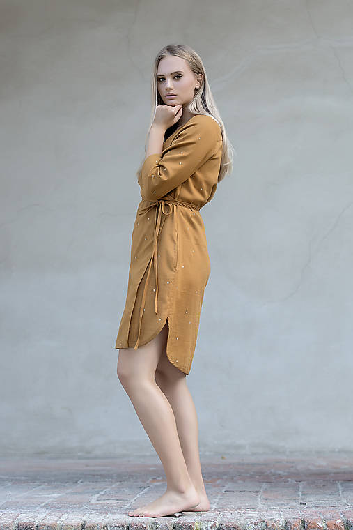 Šaty - Zavinovací šaty skořicové - 12292473_