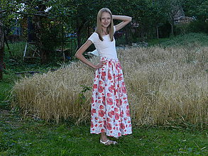 Sukne - Dámska ľanová sukňa divé maky - 12295956_
