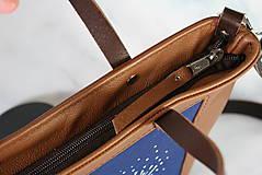 Kabelky - Modrotlačová kožená kabelka Rita AM 1 - 12294633_