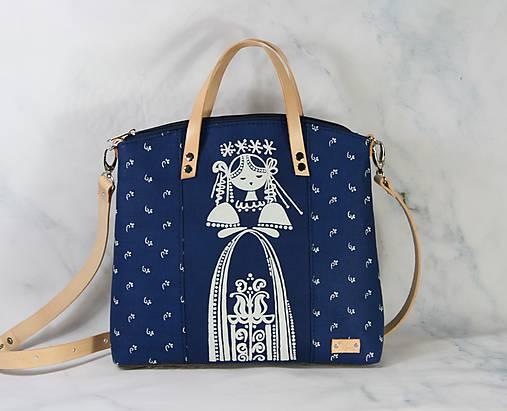 modrotlačová kabelka Nora natur 10
