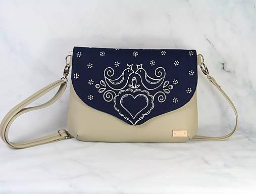 Modrotlačová kabelka Petra béžová 4 AM