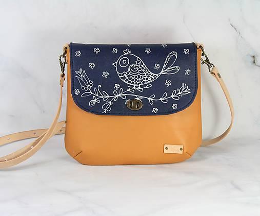Modrotlačová kožená kabelka Ria AM 1