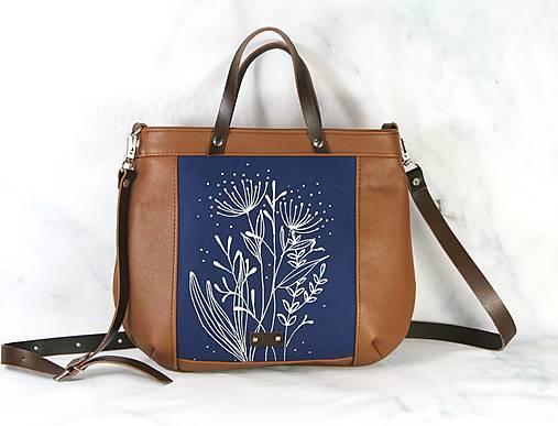 Modrotlačová kožená kabelka Rita AM 1