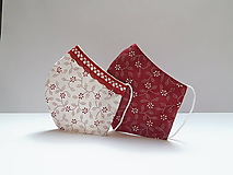 Rúška - Tvatované dvojvrstvové rúška - ON A ONA (červená) (ONA cca 12 cm) - 12293625_