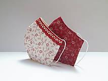 Rúška - Tvatované dvojvrstvové rúška - ON A ONA (červená) (ONA cca 12 cm) - 12293628_