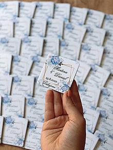 Darčeky pre svadobčanov - Magnetky pre svadobčanov modré ruže - 12297728_