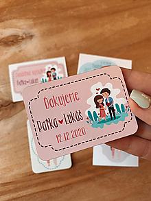 Darčeky pre svadobčanov - Magnetky pre svadobčanov párik ružový - 12297826_