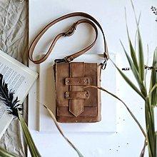 Taštičky - Kožená mini-brašňa Theo - 12297641_