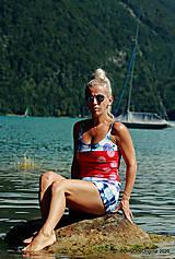 Tričká - Dámske tielko šité, batikované, maľované, etno PINA COLADA - 12297032_