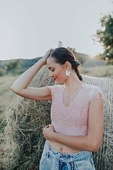 Topy - krajkový ružový crop top - 12296826_