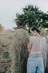 Topy - krajkový ružový crop top - 12296827_