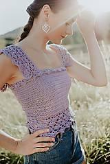 Topy - háčkované farebné crop topy - 12296859_