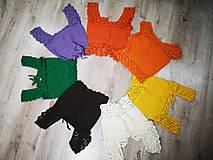 Topy - háčkované farebné crop topy - 12296887_